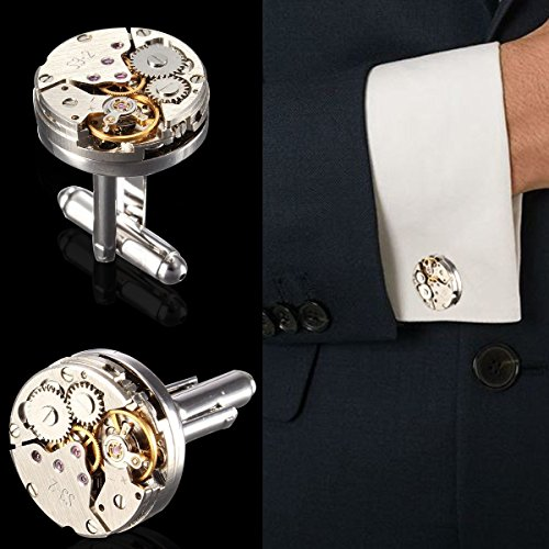 Cufflinks,Baban Deluxe Steampunk Mens Cufflinks Vintage Watch Movement Shape Cufflinks Gift for Men/Father's Day/Lover/Friends/Wedding/Anniversaries/Birthdays with A Elegant Box by Baban (Image #6)