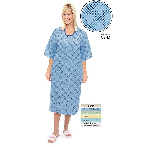 Back Patient Gown - Personal Touch Unisex Blue Striate Angle Back Overlap Premium Patient Hospital Gown (Pack of 4)