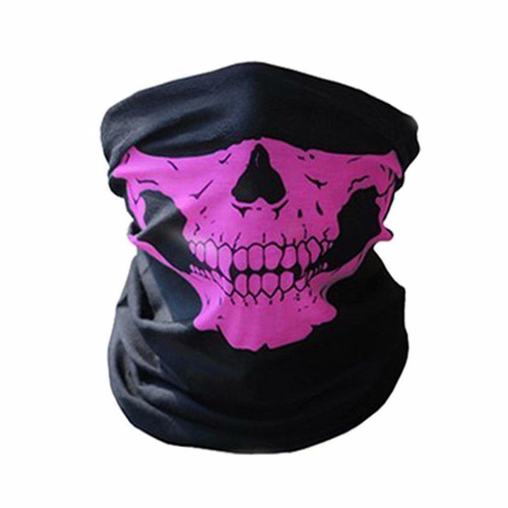 Skull Tubular Protective Dust Mask Bandana Motorcycle Polyester Scarf Face Neck Warmer for Skiing Motorcycle Biking BByu