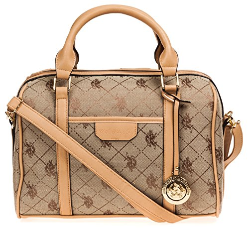 U.S. Polo ASSN. Designer Handbags Women's Logo Jacquard Satchel Bag - Beige (More Colors Available)