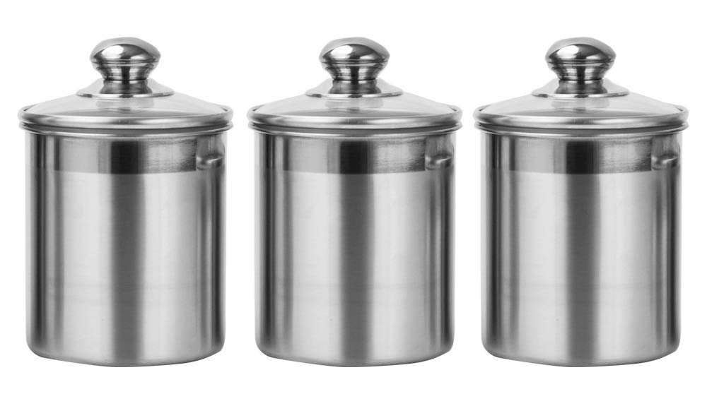 Vencer 3 Piece Set Large Sized 47oz Each,Stainless Steel Canister Set with Glass Lids,Coffee,Tea,Sugar,Flour for Kitchen,VFO-012