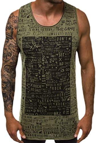 メンズクルーネックファッションレタープリントリラックスフィットサマータンクシャツ