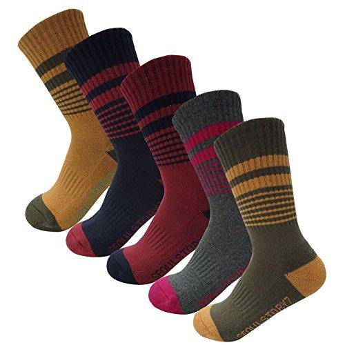 5Pack Women's Multi Performance Padded Hiking/Outdoor Crew Socks Vintage Stripe 5Pair Small