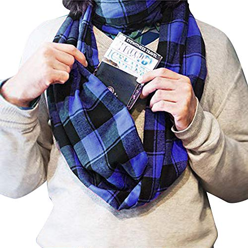 Price comparison product image Women Man Winter Plaid Print Warm Scarf, Infinity Neck Warmer Wrap Scarf With Hidden Zipper, Secret Pocket For Casual, Travel (Blue)