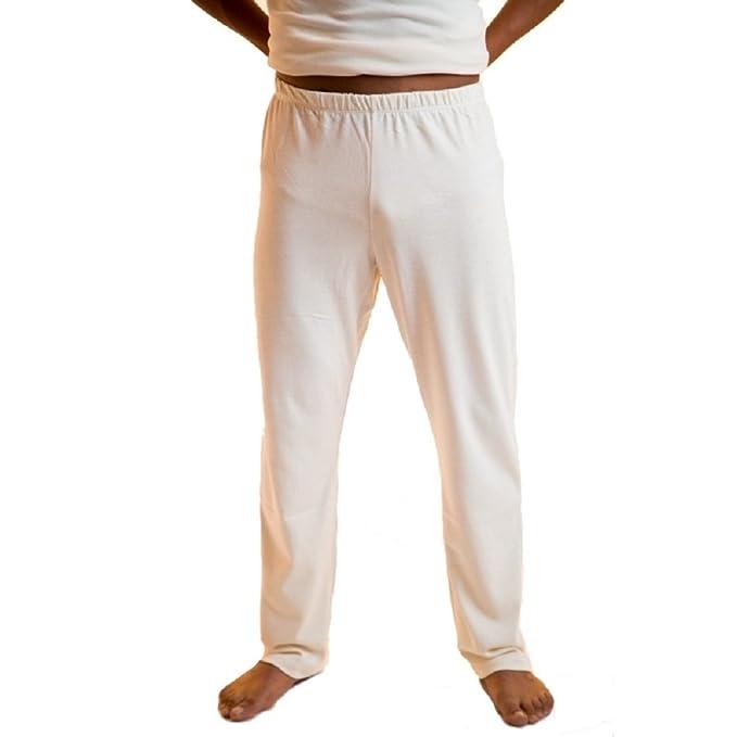 Body4Real Organic Cotton Clothing - Pantalón de Pijama - para Hombre Blanco Blanco Crema Small