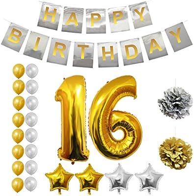 BELLE VOUS 16 Decoracion Cumpleaños - Globo Numero 16, Happy Birthday Pancarta, Globos de Látex, Globos de Estrella, Pompones - 24 Piezas 16 Años de ...