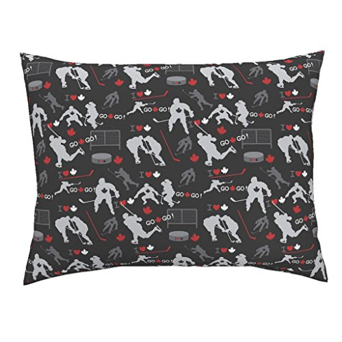 Roostery Hockey Standard Knife Edge Pillow Sham Maple Leaf Black White Red Hockey Sport Winter Toronto Hockey Player Sport Canadian by Collide Prints 100% Cotton -