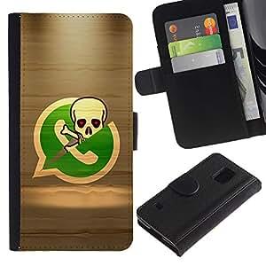 Paccase / Billetera de Cuero Caso del tirón Titular de la tarjeta Carcasa Funda para - Pirate Skeleton Phone - Samsung Galaxy S5 V SM-G900