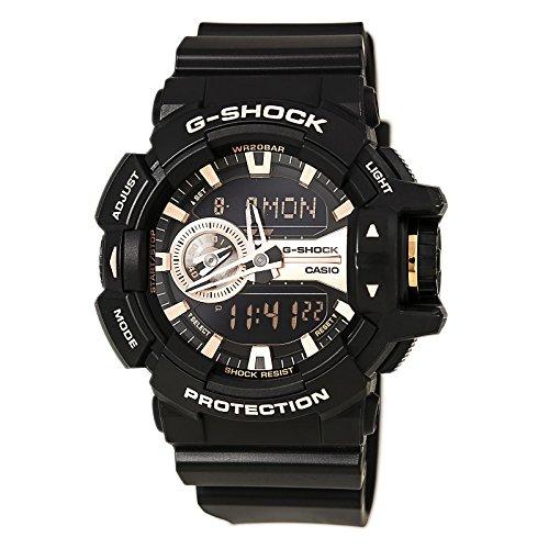 Casio G Shock Black and Rose Gold Tone Dial Resin Quartz Mens Watch GA400GB 1A4