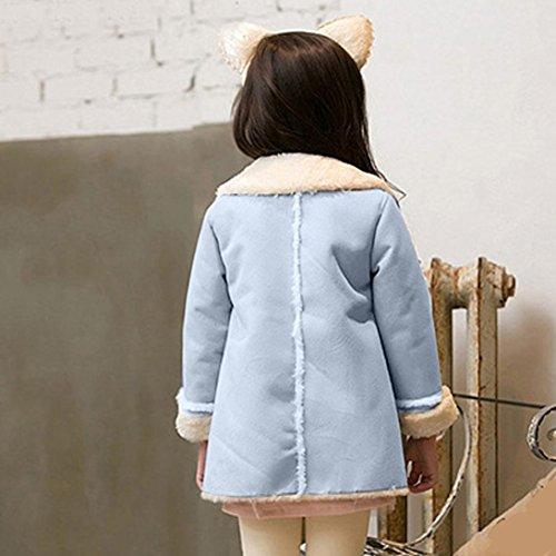 Franterd Baby Girls Winter Jacket Fur Collar Solid Warm Winter Thickening Fur Inside Coats (Blue, 3T) by Franterd (Image #2)'