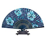 Panda Superstore 8.27''(21cm) Handmade Handheld Folding Fan Blue Flower Great Gift For Women