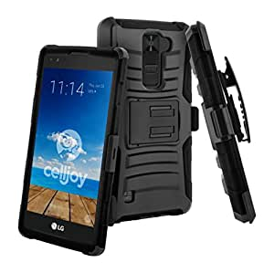 CellJoy LG-K8V-URH-01 Case, Ultra Rugged, Shockproof for LG VS500/K8V 2016 Verizon Reinforced Impact Bumper, Heavy Duty, Protection Cover with Kickstand, Locking Swivel Belt Clip Holster Combo - Black