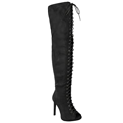 66e276bbbdb Fashion Thirsty Womens Ladies Sexy Over The Knee Thigh High Lace UP  Stilettos Heels Boots Size