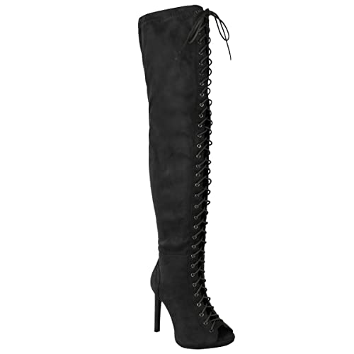 501d007455d WOMENS LADIES SEXY OVER THE KNEE THIGH HIGH LACE UP STILETTOS HEELS BOOTS  SIZE