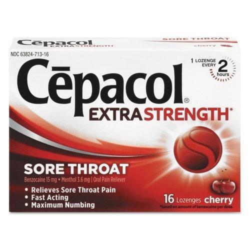 Cepacol 71016 Extra Strength Sore Throat Lozenge, Cherry, 16/Box