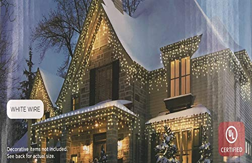 Holiday Times 300-count Icicle Outdoor String Lights Christmas Lights, Clear With White Wire from Holiday Times