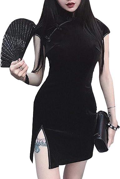 Vestidos chinos vintage sexy para mujer ropa gótica de manga larga ...