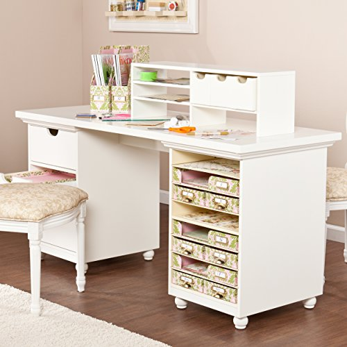 Anna Griffin HZ4924 Craft Room Desktop, Antique White, Cream