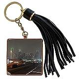 3dRose Sandy Mertens Texas - Dallas, Texas from the Highway on Foggy Night, Photo - Tassel Key Chain (tkc_184391_1)