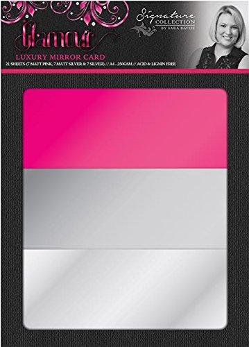 Crafter's Companion S-Glam-Mirror Sara Davies Signature A4 Luxury Card 21pc, 7 Matte Pink, 7 Matte Silver and 7 Silver by Crafter's Companion
