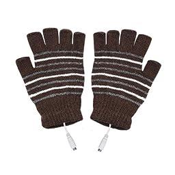 Teensery Stripe Fingerless USB2.0 Laptop Heating Gloves Knitting Wool Winter Warm Hand Warmer Gloves Mittens (brown)