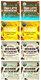 Four Sigmatic Mushroom Latte and Hot Cacao Mix Sampler – Golden Mushroom Latte, Chai Mushroom Latte, Cordyceps Mushroom Hot Cacao and Reishi Mushroom Hot Cacao - Pack of 8