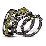 ArtLine Jewels 1.15 Carat Round Cut Green Peridot 14k Black Gold Finish Bride & Groom Trio Ring Set
