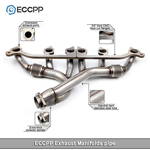 Exhaust Manifold Set Stainless Steel Front Rear ECCPP Automotive Replacement Exhaust Manifolds pipe Fit for Wrangler Grand Cherokee 4.0L