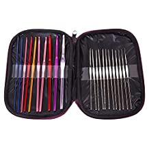 RioRand 22Pcs Aluminum Crochet Hooks Knitting Needles Set