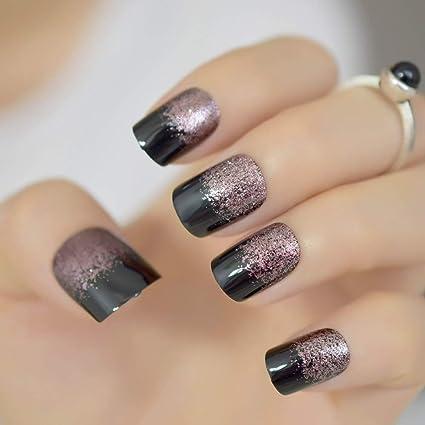 EchiQ - Clavos de color negro claro y marrón claro con purpurina francesa falsa cabeza cuadrada