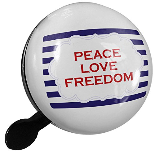 Small Bike Bell Peace Love Freedom Fourth of July Blue Stripes - NEONBLOND by NEONBLOND