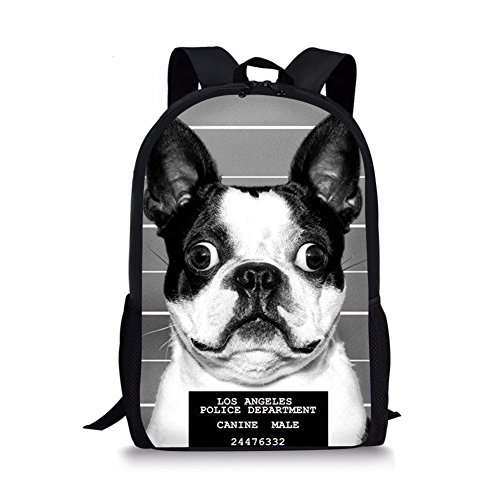 UNICEU Boston Terrier Print Kids School Backpack Cute Children Bookbag