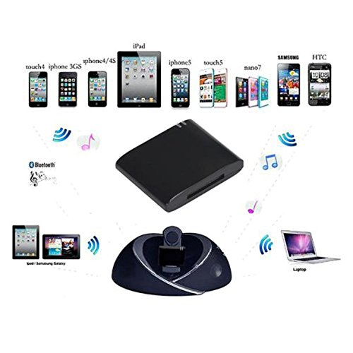 Xindda Bluetooth A2DP Music Receiver Audio Adapter for iPod iPhone 30Pin Dock Speaker(Black)