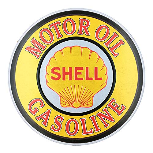 Shell Gas Oil - PEI's Shell Motor Oil Gasoline Retro Vintage Hanging Tin Sign, Embossed, Wall Decor for Home Garage Bar Man Cave, Round 12x12 Inch / 30x30cm