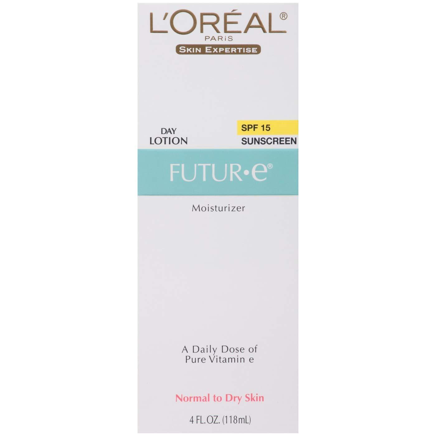 L'Oreal Paris Skin Expertise Future Moisturizer + a Daily Dose of Pure Vitamin E, SPF 15 4 oz (Pack of 4)