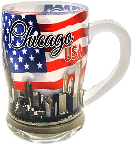 Chicago Patriotic Skyline Souvenir Beer Mug Featuring the American - Souvenir Beer