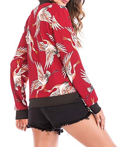 Donna Giacca Cappotto Stampare Lunga Cerniera Yeesea Rosso Top Manica Camicia Casual dxq46wTz