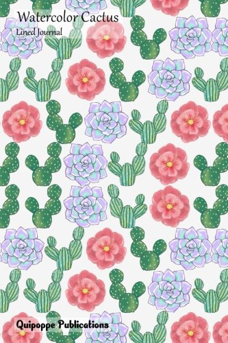 Watercolor Cactus Lined Journal: Medium Size College Ruled Notebook With Succulents Flower Pattern Cover -