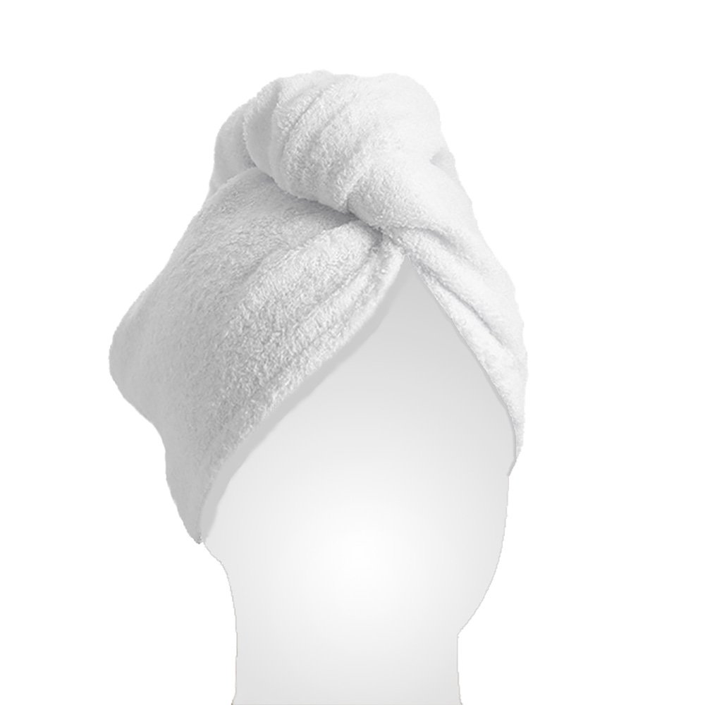 Le Pure - Women's Bamboo Hair Towel - Hair Drying Towel Wrap (White)