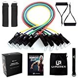 UPOWEX Resistance Bands Set – Include 5 Stackable Exercise Bands with Carry Bag, Door Anchor Attachment, Legs Ankle Straps & Bonus eBook – 100% Life Time Guarantee
