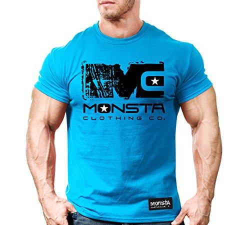 Monsta Clothing Co. Men's Workout T-Shirt MC-Icon Signature Series-107: Black (Blue Tee/Black & White Icon, Small)