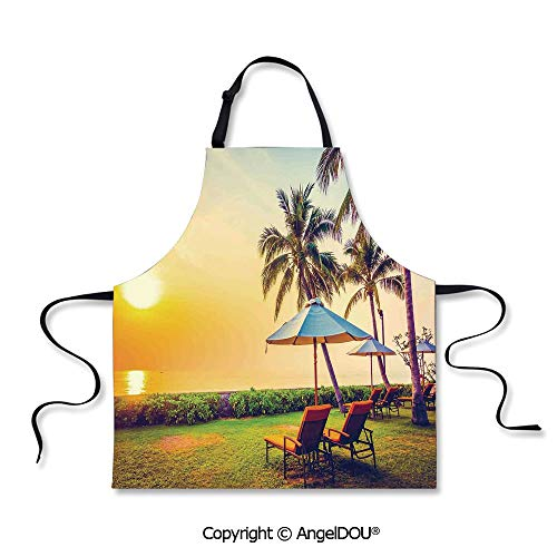 SCOXIXI Printed Unique Cool Kitchen Apron Empty Umbrella and Chairs on The Beach Palm Trees at Twilight Times Vacation Theme Home Cooking Baking Waist Bib.]()
