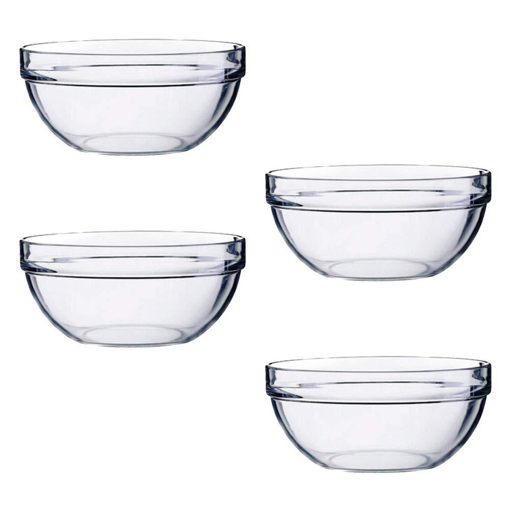 Vegetable BESTONZON 4pcs Acrylic Salad Bowl//Serving Bowls,Great for Serving Salad,Popcorn,Chips,Dips 14x6cm