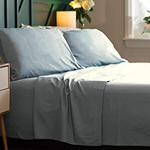 Bamboo Soft - Eco Friendly, Wrinkle Resistant Bamboo Fiber – Hypoallergenic and Breathable Viscose from Bamboo Blend 4pc Sheet Set (Light Blue, Queen)