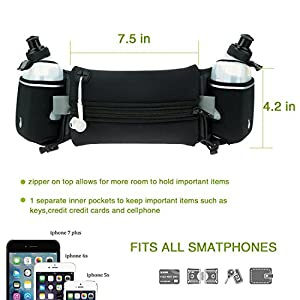 Running Hydration Belt with Water Bottles (2X BPA Free 10oz), Fuel Belt Fits iPhone 6s Plus for Running, Race, Marathon, Hiking, Adjustable Running Waist Packs, Men & Women Runners Belt (black)