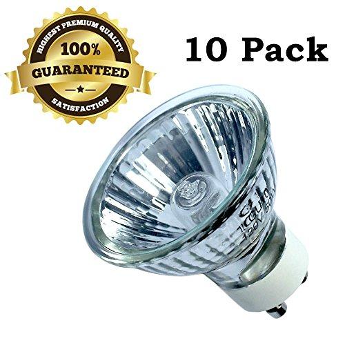 10 Pack GU10 50W 120V Bulb Halogen Flood Light Bulb Dimmable w/ Cover Glass - Uk Glasses Shields For Side