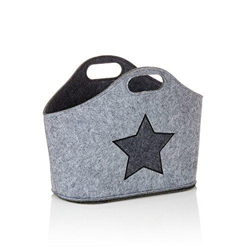 miaVILLA Zeitungsständer Sternen-Motiv Filztasche grau