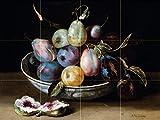 Still life fruit plums fig figs by Jacques Linard Tile Mural Kitchen Bathroom Wall Backsplash Behind Stove Range Sink Splashback 4x3 6'' Marble, Matte