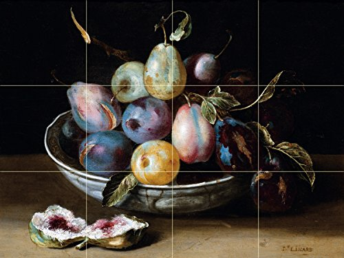 Still life fruit plums fig figs by Jacques Linard Tile Mural Kitchen Bathroom Wall Backsplash Behind Stove Range Sink Splashback 4x3 6'' Marble, Matte by FlekmanArt