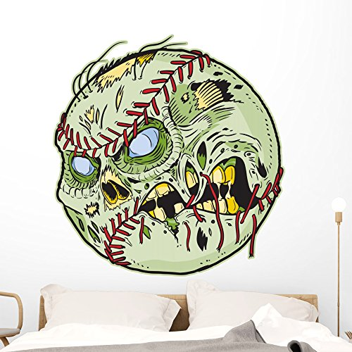 Wallmonkeys Zombie Baseball Wall Decal Peel and Stick Decals for Boys (48 in H x 46 in W) -